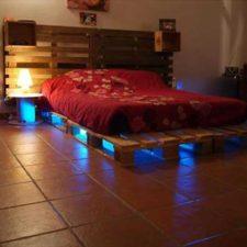 Cama de palets con luces