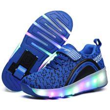 AIMOGE Niños LED Zapatos con Ruedas Deporte Patín Ruedas Luminoso Formadores Led Lighted Intermitente Zapatos con Ruedas Niñas Niño