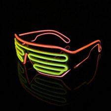 Lerway 2 Colores LED Luz de Neón Alambre Fresco Marco Divertido Shutter Gafas Blanco Cuadro + Control de Voz (amarillo+naranja)
