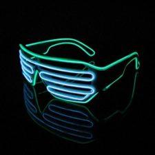 Lerway 2 Colores LED Luz de Neón Alambre Fresco Marco Divertido Shutter Gafas Blanco Cuadro + Control de Voz (blanco+verde)