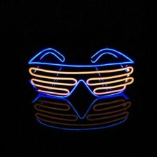 Lerway Black Frame Neon El Wire LED Lighting Up Slotted Shutter Glasses Eyeglasses Eyewear + Standard Control Box, for Music Concert Live, Stage Performance Show,Crazy Wild Party