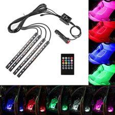 Minger Tira de Luz para Interior de Coche/moto,4 x 22cm RGB Tira LED Con Mando a Distancia de Música y Cargador de Coche DC 12V