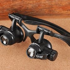 Leeko Gafas de Aumento Múltiplos 10x, 20x 25x 15x Reparacion de Reloj LED Doble Ojo de Lupa de Joyero Gafas de Lupas