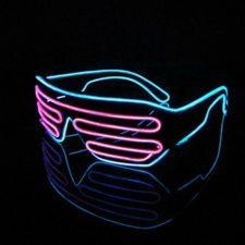 Lerway 2 Bicolor – Gafas con luz (LED, perfectas para fiestas nocturnas, incluye un dispositivo de control estándar), rosa + blau, Weiß Rahmen