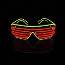 Lerway 2 Colores LED Luz de Neón Alambre Fresco Marco Divertido Shutter Gafas Blanco Cuadro + Control de Voz (rojo+amarillo)