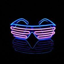 Lerway 2 Colores LED Luz de Neón Alambre Fresco Marco Divertido Shutter Gafas Blanco Cuadro + Control de Voz (rosa+azul)
