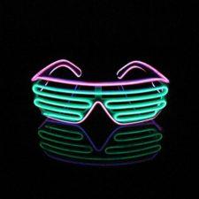 Lerway 2 Colores LED Luz de Neón Alambre Fresco Marco Divertido Shutter Gafas Blanco Cuadro + Control de Voz (verde+rosa)