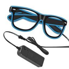 Witasm gafas de neón EL LED gafas luminosas 3 modos con cargador para fiestas discoteca carnaval DJ nochevieja club bar Halloween Navidad – azul fluorescente